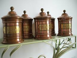 copper canisters kitchen vintage copper and brass kitchen canisters copper spice jars
