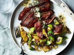 cuisine steak pan seared hanger steak with brussels sprouts potatoes and lemon