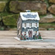 blue saltbox christmas house with light paper putz