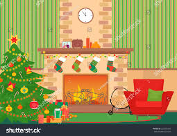 christmas livingroom flat interior vector illustration stock