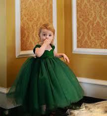 lovely dark green baby toddler infant ball gown flower