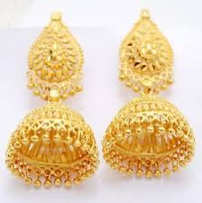gold earrings 24k gold plated traditional south indian earrings jhumka jewelry