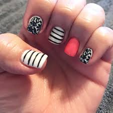 gel nails black and white nails coral nails hard gel stripe