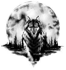 beautiful moon and wolf design