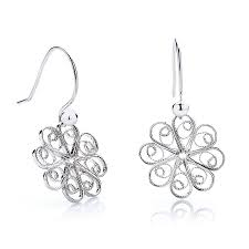 filigree earrings silver filigree rosette flower earrings by arabel lebrusan