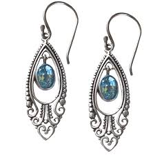 filigree earrings earrings with oval blue topaz