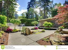 Yard Walkways Modern Front Yard Landscape With Walkways And Rocks Stock Images