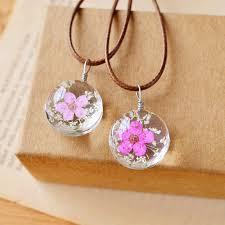 necklace flower handmade images Handmade real pressed flower plum blossom lady crystal sweater jpg