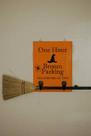 diary of a crafty lady broom parking halloween sign