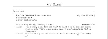indentation in latex for resume tex latex stack exchange