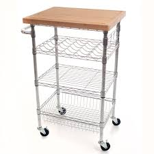 amazon com lavish home chrome wine dining cart with butcher block