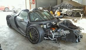 bugatti crash for sale wrecked porsche 918 spyder up for sale again