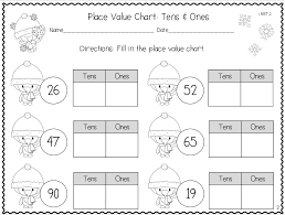 tens and units worksheets printable winter themed place value handouts tens and ones grade
