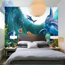 chambre aquarium peinture murale personnalisée 3d stéréo personnalité grande fresque