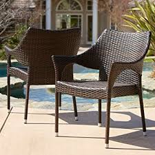 amazon com del mar outdoor brown wicker stacking chairs set of