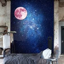 30cm pink large moon wall sticker removable glow in the dark