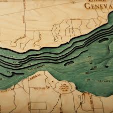 geneva map lake geneva wood map 3d nautical topographic chart framed