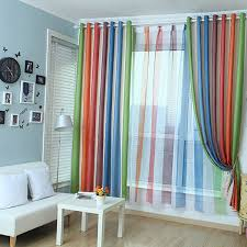 Multi Colored Curtains Drapes Custom Multi Color Polyester Cotton Blackout Striped Curtains