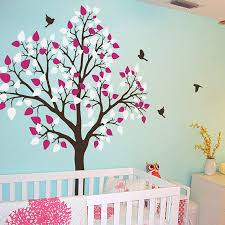 single tree with birds flying vinyl wall sticker baby nursery wall single tree with birds flying vinyl wall sticker baby nursery wall decals tree art wall murals removable diy bedroom decor za196 in wall stickers from home