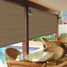 coolaroo walnut cordless exterior roller shade 120 in w x 96 in