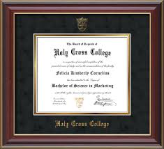 college diploma frame holy cross college diploma frame cherry lacquer hcc seal black suede