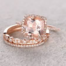 ring for women 3pc 9mm 0 3ct morganite engagement set 14k rose