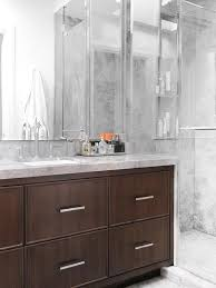 Waterfall Bathroom Furniture Brown Vanity With Waterfall Edge Countertop Contemporary