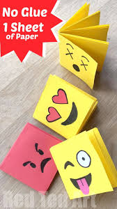 Paper Crafts - emoji mini notebook diy one sheet of paper emoji minis and craft