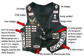 biker vest hells angels leather jacket gang colors biker gangs pinterest