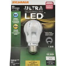60w Led Light Bulb by Sylvania 12 Watt 60w Equivalent A19 Medium Soft White Led Bulb