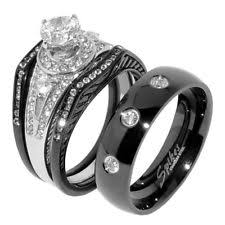 black wedding rings his and hers black wedding band sets ebay