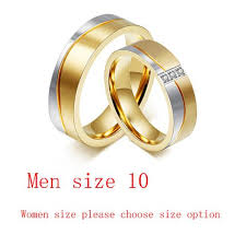 wedding ring set for vnox 1 pair wedding ring set for gold color stainless steel