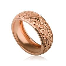 Rose Gold Wedding Rings by Rose Gold Handcrafted Vintage Domed Wedding Ring