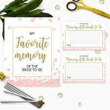 Bride Cards Gold And Pink My Favorite Memory Of The Bride Cards And Sign