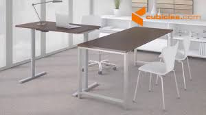 Automatic Height Adjustable Desk by Cubicles Height Adjustable Standing Desk Youtube