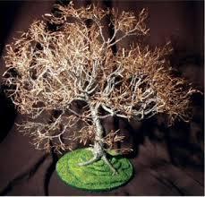 wire bonsai tree sculpture dogwood on lawn19 hx19 wx21 d