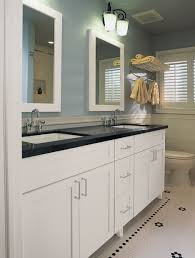 two tones undermount double trough sink for light blue bathroom