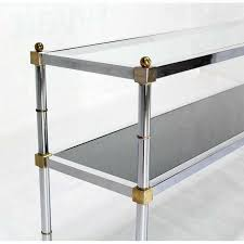 Glass Sofa Table Modern Chrome Brass And Glass Two Tier Console Or Sofa Table Mid