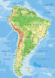 physical map of argentina high detailed physical map of south america stock vector