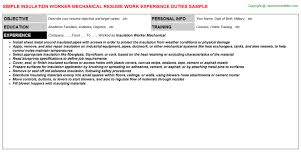insulation worker mechanical resume sample