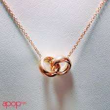 rose gold rings necklace images Rose goldtone silver interlocking circle rings necklace 16 18 in JPG