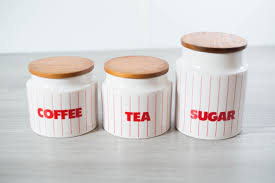 vintage canister set coffee tea sugar canisters diner style