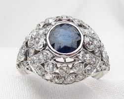 saphire rings deco diamond sapphire ring platinum filigree sapphire ring
