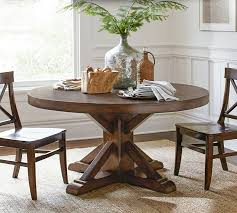 Benchwright Fixed Pedestal Dining Table Pottery Barn - Pottery barn dining room table