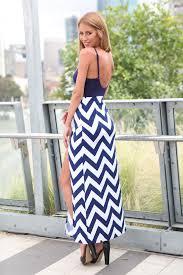 chevron maxi dress navy white chevron maxi dress with front splits