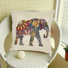 Sofa Pillow Cases Floral Elephant Printed Linen Cushion Cover For Sofa Buycoolprice