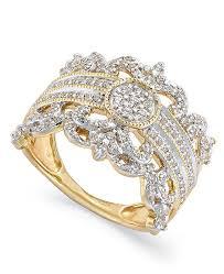 gold crown rings images Macy 39 s diamond vintage crown ring in 14k gold 3 4 ct t w tif