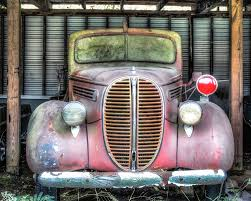 Vintage Ford Truck Art - 1938 ford fire truck rusty classic cars classic car