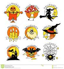 Happy Halloween Icons Happy Halloween Cartoon Flat Icons Vector Illustration