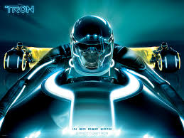 sam flynn on a light cycle from tron legacy desktop wallpaper